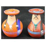 Terra-cotta hand painted salt and pepper shakers made in Mexico