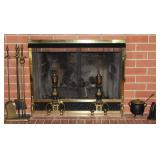 Brass  Fireplace Screen with andirons and 5 piece Tool Set.  Also shown: Antique Cast Iron Smelting/