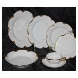 """Haviland & Company Limoges France """"Silver Anniversary"""" Circa 1902; 8 dinner plates, 8 luncheon plate"""