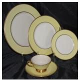 """Sylvan """"Yellow"""" by Flintridge (1964-71) 5 piece place setting service for 12  including dinner plate"""