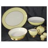 "Sylvan ""Yellow"" by Flintridge (1964-71); 14"" oval platter, oval vegetable bowl, round vegetable bowl"