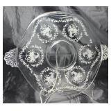 "Elegant glass of the Depression era 1938-1954 Fostoria ""Mayflower"" two handled 10"" tidbit tray"