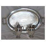 """Glastonbury Silver Company oval silver plate serving tray 17"""" x 12"""" with handles"""