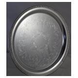 "Wilcox Brandon Hall Silverplate 14"" Round tray"