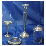 """Sterling Silver 10"""" Poole Candlestick 1920-30's, Sterling Silver Basket bud vase with handle, Wallac"""