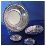 """Wallace Sterling Silver:  """"Halifax"""" 10"""" serving bowl, Oval 7 1/2"""" x 5"""" dish, Coaster and Newport Ste"""