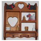 Small Natural Wood Cottage Craft What-not Pegged Shelf.