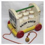 "Playskool Wooden Vintage ""Dairy Wagon"" Pull Toy"