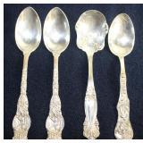 "Sterling Silver: Wendell Mfg. Co. ""Ariel"" Dessert Spoons (2 ea.) c.1895 and ""Emperor"" Sugar Spoon 18"