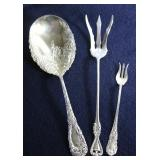 """""""Chrysanthemum"""" by Durgin Sterling Silver Vegetable Serving Spoon c.1896; Towle Sterling """"Old Coloni"""