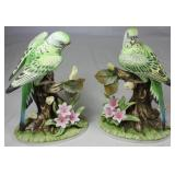 "Andrea by Sadek Parakeet on a Branch w/Flowers Figurines (7.5""H)"