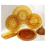 "Tiara ""Sandwich"" Amber Pattern Glass Collection (1971-1989:  Torte Plate 16""D, Deviled Egg Tray, Div"
