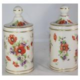 "Vintage Porcelain Apothecary Floral Canisters.       (9""H x 4""D"