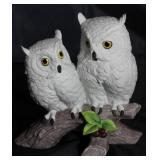 "Andrea by Sadek ""Owl"" Two White Owls on Perch Bisque Figurine ( 4 1/2"" D × 7 3/4"" H× 8"" W). Wood Bas"