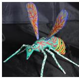 "Alebrije Wood Carved Brightly Hand Painted Mosquito  (7""L x 7""H x 9.5""W) by Artist Rachel Mendoza, O"