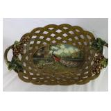 Castilian Imports Large Decorative Lattice Work Bowl with Raised Bunches of Grapes ant Peacock Scene