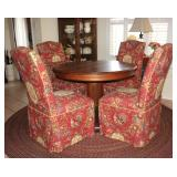 "Custom Upholstered Parson Chairs shown with an Antique Oak Round Pedestal Table (48""D) and Round Rag"