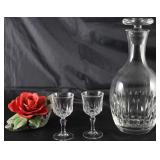 "Cristal D'Arques ""St. Germaine"" Crystal liqueur Stems (Set of 4) and ""Atlantis"" Cut Crystal Decanter"
