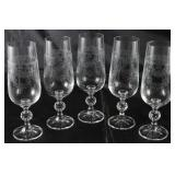 """Cascade"" by Imports Associates"" Needle Etched Cut Crystal Fluted Champagnes. (5 ea.)"