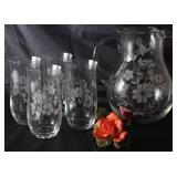 Vintage Floral Etched Crystal Iced Lip Pitcher and 4 Tumblers Shown with Y.H. (Yong Hong) Porcelain