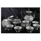 Bavaria Platinum Porcelain Tea Set: Teapot, Sugar w/Lid, Creamer, Set of 6 Demitasse Cup and Saucers