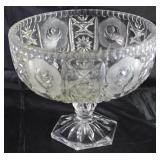 "Cut Lead Crystal Rose Pattern Large Pedestal Compote (7 1/2 H x 8 1/2"" )"