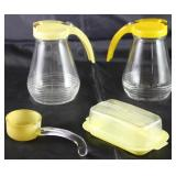 Vintage Yellow Lid Glass Syrup Pitcher (2 ea.), Frosted Yellow Glass Marmalade/Sauce Ladle and Burro
