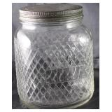 Hazel Atlas Vintage Depression Era Diamond Patterned Glass Gallon Jar Canister