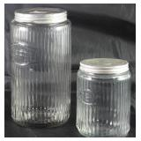 Sneath Glass Co. (1892-1952) Ribbed Pattern Glass Coffee and Tea Jar Canisters with Original Lids