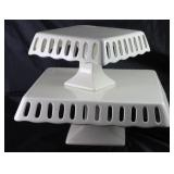 "White Ceramic Open Lace Edge Square Cake Stands: Small (8""D x 5""H) x Large (12""D x 5""H)"