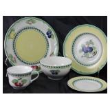"""Villeroy & Boch """"French Garden Fleurence"""":  Dinner Plate (8), Rimmed Soup (8),  Flat Cup, Coupe Cere"""