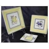 """Villeroy & Boch """"French Garden Fleurence"""": Square 10.5"""" Plate (1 ea), Square 8"""" Salad Plates (9 ea.)"""