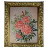 "Pink Roses Bouquet Original Oil on Canvas Signed Karisch (16""x20"") Framed in a 2 1/2"" Ornate Gold Fr"