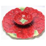 """Poinsettia"" Designed by Mexcera Ceramic Hand Painted Chip & Dip Tray ("