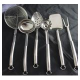 Chantal Stainless Steel Kitchen  Utensils: Skimmer, Ladle, Slotted Spoon, Spaghetti Fork, Spatula an