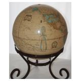 George F Cram Co:   Cram's Imperial Globe resting on a Wrought Iron Stand