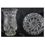 "Imperial Cut Crystal Vase (6""H).    Cut Lead Crystal Ashtray (5""D x 2""H)"