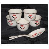"Harker China Co. Depression Era ""Red Daisy"" Custard Bowls (5 ea.) and Serving Spoon"