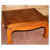 Vintage Oriental Style Square Walnut Coffee Table with Burl Veneer Top