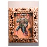"Angel with Horn  (12""x16"") Original Art by Jesus Callo Sanchez in Ornate Gold Gild Wood 4"" Frame"