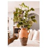 "Glazed Stoneware Olive Jug (14"") With Artificial Fig Branches"