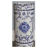 "Portability Porcelain Blue & White Hand Painted Umbrella Stand (19"" x  8 1/2"")"