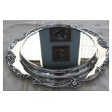 "King Francis Mirror Plateau Vanity Tray Reed Barton Silverplate  c.1975 (16"")"