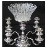 "Israel Freeman  Silver Antique Victorian Epergne Candelabra. (18""D x 11""H) Shown with Large Cut Crys"