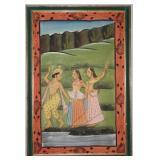 "Batik  Fabric  ""Dancers"" Print Framed (25"" x 36"")"