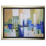 Original Artwork Oil on Canvas signed byte  Artist. Framed in a gold leaf frame with black liner