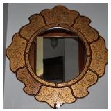 "Reversed Painted Gold Birds and Floral Mirror (39""D)"