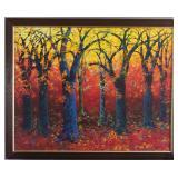 """""""Amanecer Tropical""""  (""""Tropical Dawn"""") Original acrylic on Canvas  (58"""" x 46 1/2"""") Framed (65"""" x 52)"""