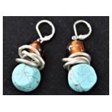 Sterling Turquoise and Amber Pierced Earrings