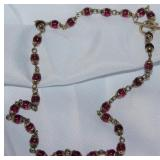 Silvertone With Garnet Glass Bead Necklace